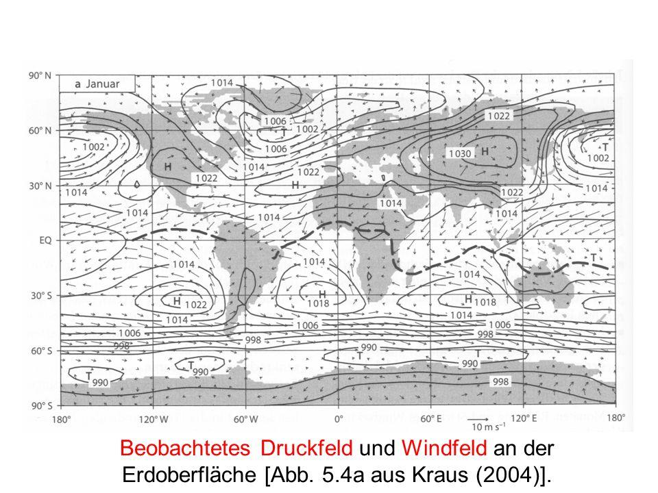 Beobachtetes Druckfeld und Windfeld an der Erdoberfläche [Abb. 5